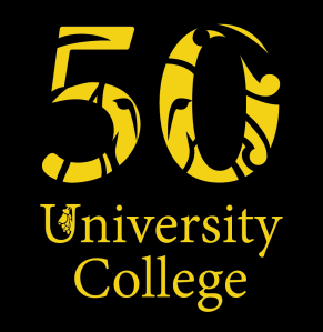lion logo through numeral 50, university college text