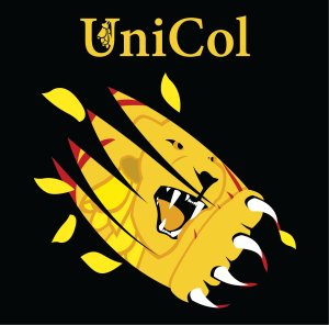 "text ""unicol"", roaring lion"