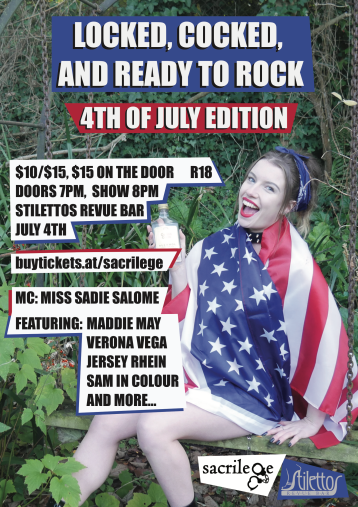figure wearing American flag, event text